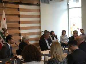 Sunnyvale Mayor Glenn Hendricks discusses with Congressman Mike Honda and HUD Secretary Julian Castro the difficulty of providing homeless housing in Silicon Valley